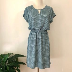 JEANSWEST Blue Green Short Sleeve Summer Dress, knee length, fully lined Size 10